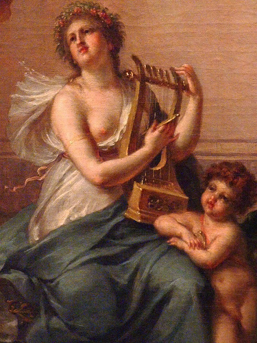 Anacreon Sappho Eros and a Female Dancer by Lavallee Poussin, 1790. Detail.