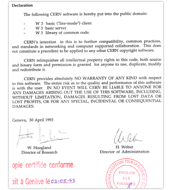 23 years of a free, open Web. CERN.